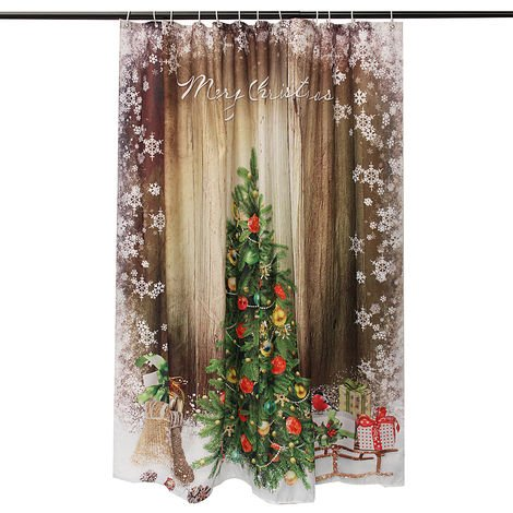 180X180cm Christmas Tree Polyester Shower Curtain For Decorative Bathroom
