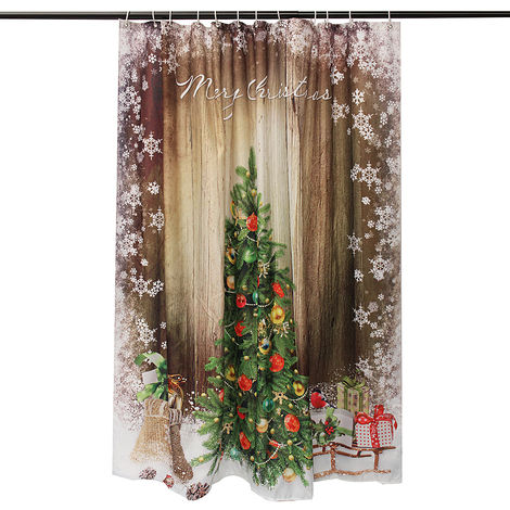 180X180cm Christmas Tree Polyester Shower Curtain For Decorative Bathroom Hasaki