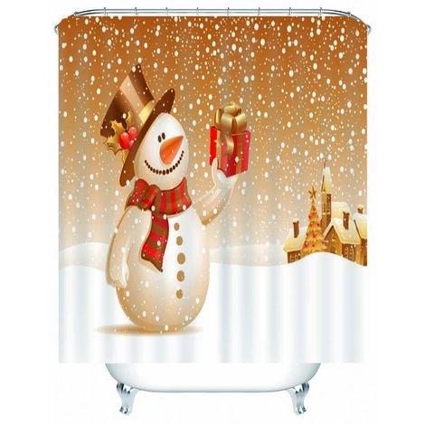 180x180cm rideau de douche imperméable de no?l bonhomme de neige doré avec 12 crochets rideaux de salle de bain lavables en Polyester rideau de douche seulement