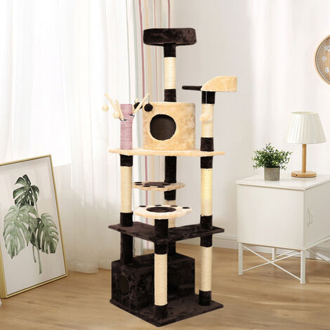 183CM Cat Tree Tower Activity Centre Scratching Post Brown