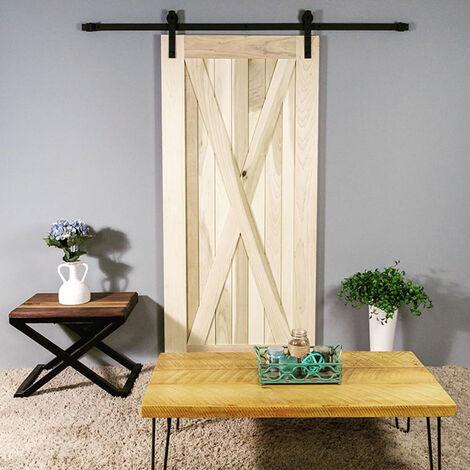 183cm Kit Instalación Montaje Puerta Corredera Kit para Puerta Deslizante Puerta Corrediza Interior Riel Acero(Gancho de barra recta)