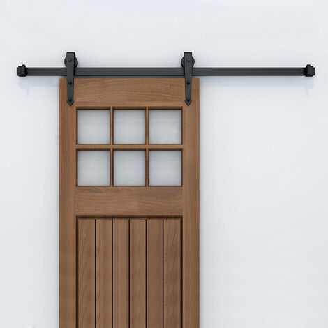 183cm Kit Instalación Montaje Puerta Corredera Kit para Puerta Deslizante Puerta Corrediza Interior Riel Acero(Gancho de espada)