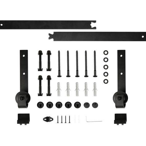 183CM Quincaillerie Kit de Rail pour Porte Coulissante, Ensemble Industriel Hardware kit pour Porte Suspendue en Bois Système de Porte avec Roulettes et Rail(6FT) - Style 3