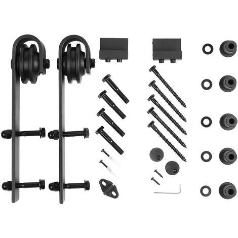 183CM Quincaillerie Kit de Rail pour Porte Coulissante Femor , Ensemble Industriel Hardware kit pour Porte Suspendue en Bois Système de Porte avec Roulettes et Rail