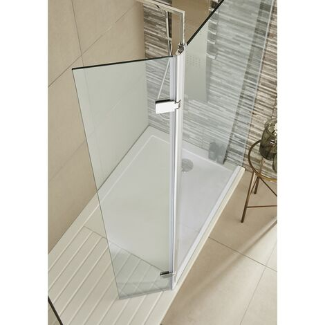 1850mm x 300mm Walk In Glass Hinged Return Screen 8mm