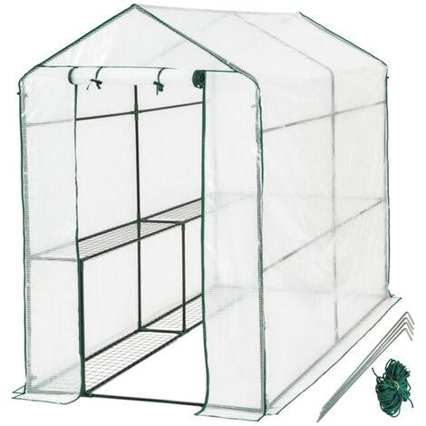 186x120x190cm Invernadero de jardín portátil con cubierta de estante Material de PVC Plantas Casa de flores Carpa al aire libre Casa impermeable Resistente al frío