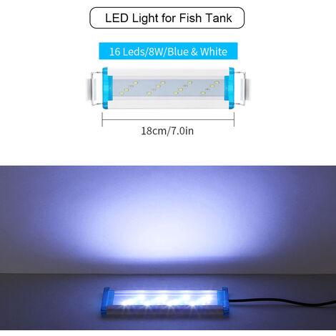 18cm luz del acuario del LED / 7.09in 5.12in Fish Tank luz LED extensible Soportes blanco rojo para tanques de agua dulce plantados, blanco, S enchufe de la UE