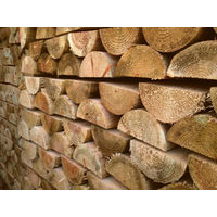 1.8m x 100mm Diameter Treated Wood Machine Cut Half Round Rail Fencing - pack of 4
