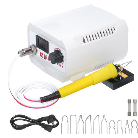 18PCS, estufa de lena de madera kit de herramienta de grabacion, 0 ¡æ -800 ¡æ, 60W 110V-240V, blanca