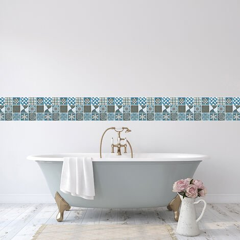 18Pcs/Set Wall Stickers Self-adhesive Wallpaper Faux Mosaic Tile Stickers Kitchen Decor