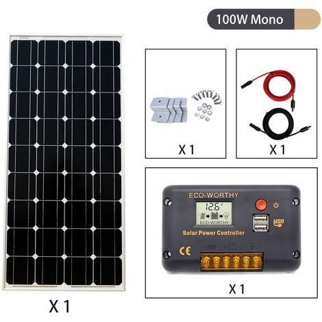 18V 100W Mono Solar Panel Battery Charging & 20A Controller Home Caravan RV kits