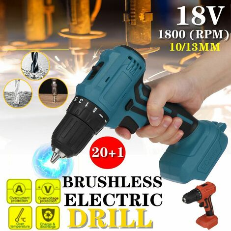 18V Dual Speed ??Rechargeable 10/13mm Electric Brushless Screwdriver for Makita Power Tools Suitable for Makita 18V Battery (not included)