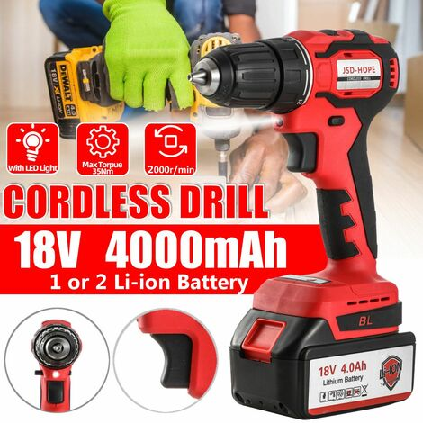 18V Electric Cordless Drill Cordless Screwdriver Power Tool with 4000mAh Li-ion Battery