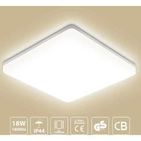18W Bathroom Ceiling Lights,1550lm Ceiling Lamp, Waterproof IP44 Indoor Lamp for Bathroom, Kitchen, Bedroom, Hallway, Corridor, Balcony, Living Room, 28* 28 * 4.8/CM, 4000K
