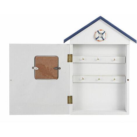 18x5x30cm Wooden Wall Key Box Mediterranean Style Home Shape Organizer Wall Hanging Home Storage