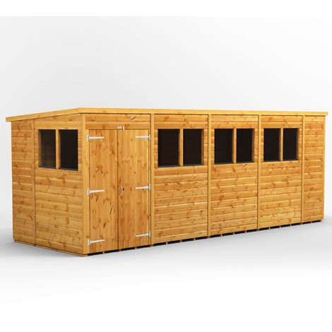 18x6 Power Pent Double Door Garden Shed