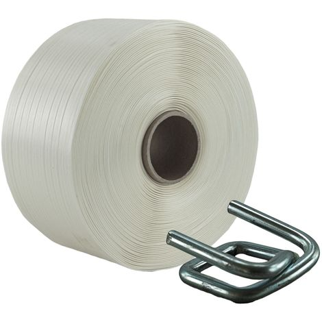 19 mm Textil Polyester Umreifungsband Umreifung Set Metallklemmen Phosphatiert