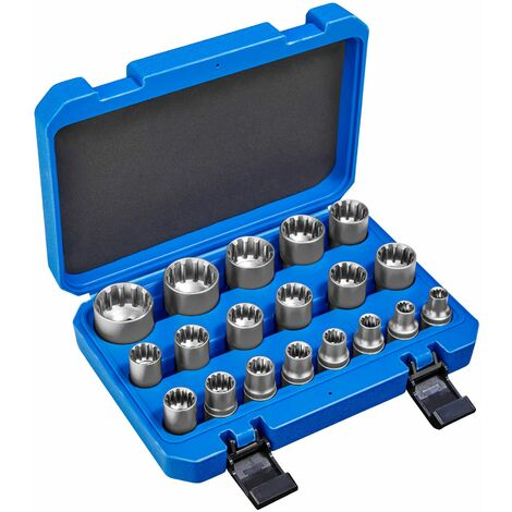 19-Piece Gear Lock Socket Set - socket set, torx, tools - blue