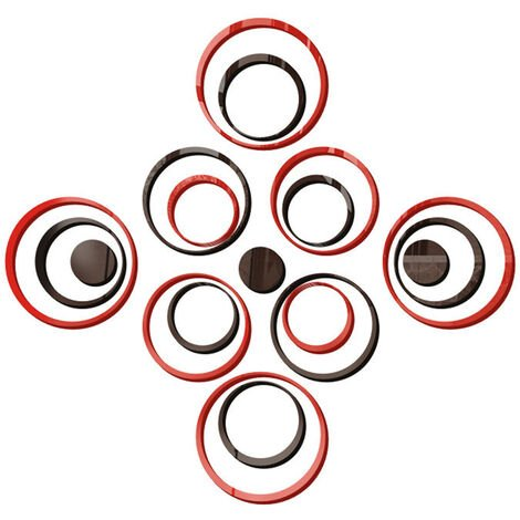 19 piezas decoracion moderna del hogar 3D espejo acrilico pegatinas de pared redondas extraibles calcomanias de arte Mural decoracion de la oficina de la sala de estar, rojo
