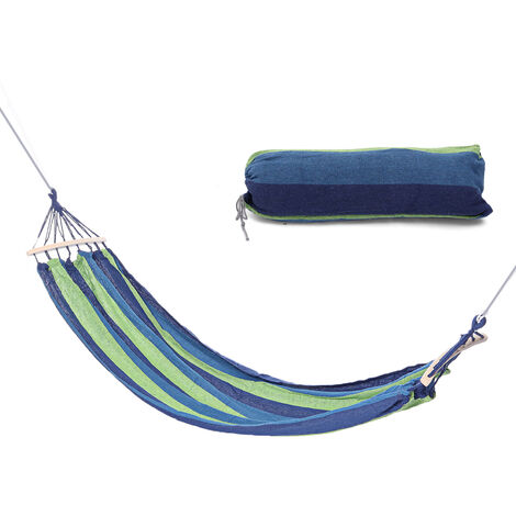 190 * 80 cm 300 kg max. Tragbare Leinwand Hängematte Holz Schaukel Camping Hanging Travelling Outdoor Picknick blau
