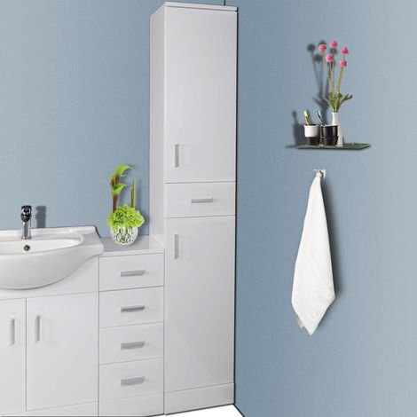 1900mm Gloss White Bathroom Furniture Tall Modern Cabinet Storage Unit