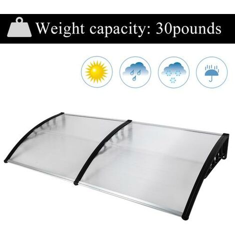 190*100cm Door Canopy Transparent Awning Shelter Front Back Porch Outdoor Shade Patio Roof-Different colors