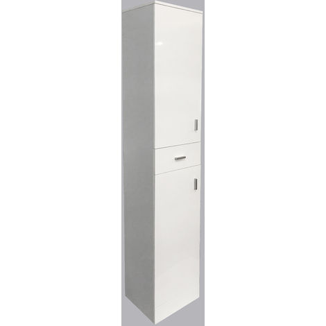 190cm Gloss White Bathroom Furniture Tall Cabinet Storage Unit