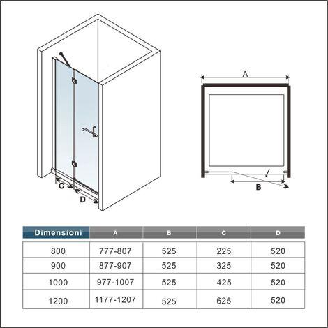"""main image of """"Box Doccia Per Nicchia Porta Battente Barra Stabilizzatrice Angolo Cristallo Temperato Anticalcare 8 mm"""""""