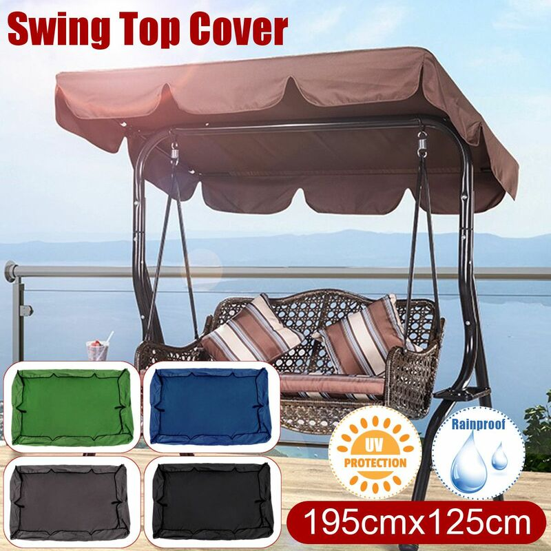 195 * 125cm étanche Balan?oires Couverture Supérieure Remplacement Canopy Chaise Protection UV 2-3 Personne Patio Extérieur (Noir)