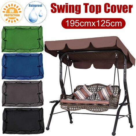195 * 125cm waterproof Swings Top Cover Replacement Canopy Chair UV Protection 2-3 Person Outdoor Patio (armygreen)