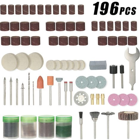 """196pcs 1/8 """"Juego de accesorios para herramientas rotativas con mango, con caja de almacenamiento"""