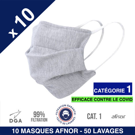 1,99€/pc - Masques tissu UNS1 AFNOR DGA - 50 lavages - Gris, lavables et réutilisables