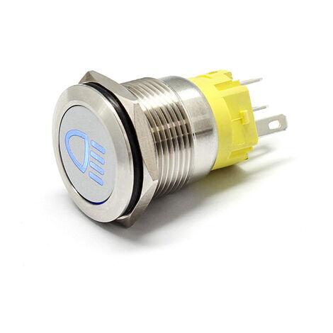 19mm 12V bouton poussoir en métal interrupteur en métal bouton de verrouillage voiture course Van Marine (verrouillage des feux de route)