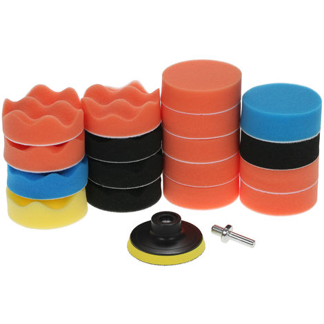 "19PCS, Kit de esponja para almohadilla de pulido para encerar automoviles, 3"" 80mm"