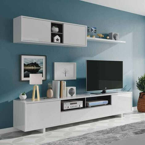 1F6682BO- Mueble de salon-Comedor Belus, Color Blanco Brillo - Roble Canadian