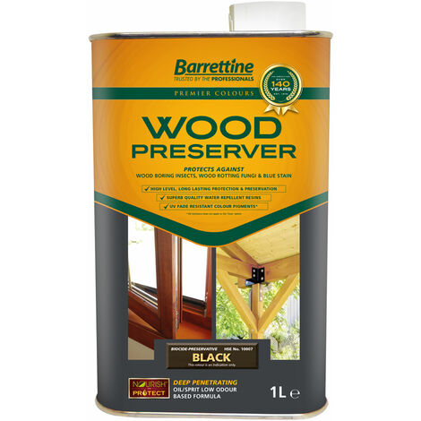 """main image of """"1L Wood Preserver Black Barrettine PREMIER Wood Preserver stain treatment protection exterior"""""""