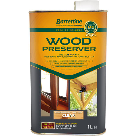 """main image of """"1L Wood Preserver Clear Barrettine PREMIER Wood Preserver stain treatment protection exterior"""""""
