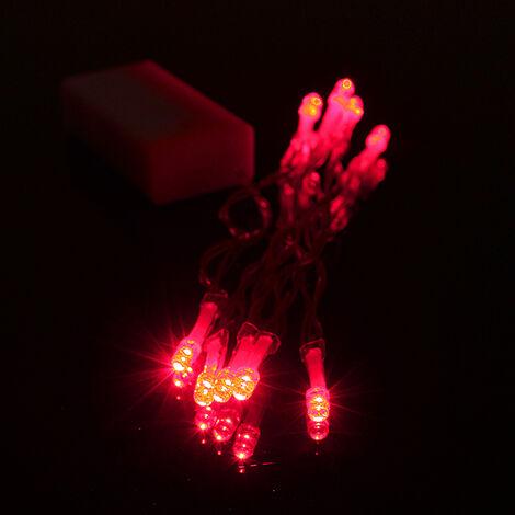 1M 10 LED guirlande lumineuse de fête de mariage à piles (rouge, 1M 10LED) No?l