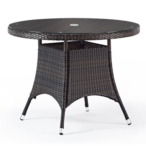 1m Round Table with Glass Top