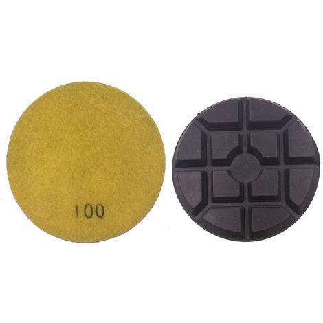 1PC 100mm 4 pulgadas Renovacion espesada de restauracion de discos humedos Lijado Pulido Pulidora Pad Floor solidificacion disco de diamante de la resina en polvo de pulido del cojin para Suelo de cemento Marble Concrete, 100 Grits