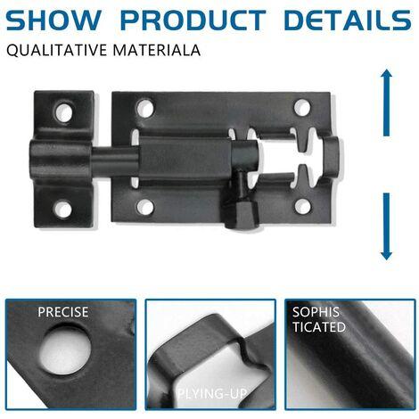 1pc 2 Inch Stainless Steel Cutter Lock with Screws to Secure Interior Doors of Bedrooms, Bathroom Toilet Door and Shelter Doors - Black