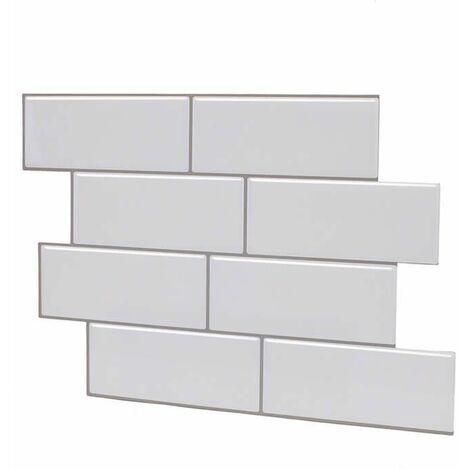 1PC 30.5 * 30.5cm Tile Stickers 3D Brick Wall Decal Sticker Bathroom Kitchen (White, HB002)