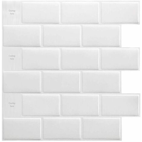 1PC 3D Brick Tile Stickers Bathroom Kitchen Wall Self Adhesive Sticker (Beige, 30.5cm / 12in)