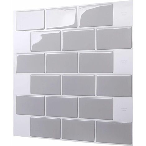 1PC 3D Brick Tile Stickers Bathroom Kitchen Wall Self Adhesive Sticker (Gray, 30.5cm / 12in)