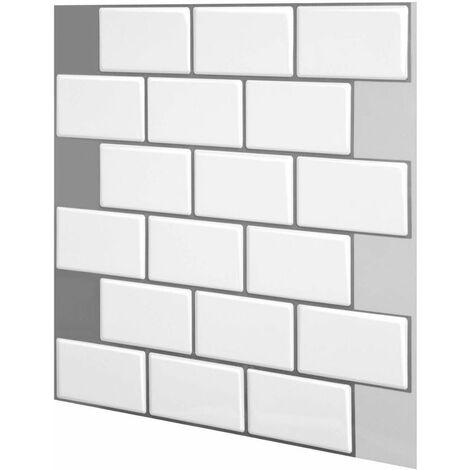 1PC 3D Brick Tiles Stickers Bathroom Kitchen Wall Decal Sticker (White, 30.5cm / 12in)