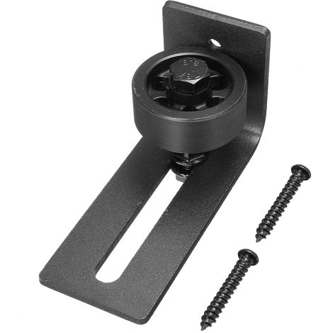 1pc Adjustable Wall Flat Stay Roller Guide Bottom Floor Sliding Barn Door Black