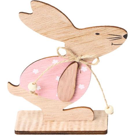 1PC adornos de madera Tabla Conejos de conejito de soporte Etiquetas con huevo de Pascua cinta de bricolaje Artesania de madera en decoraciones caseras, estilo 1