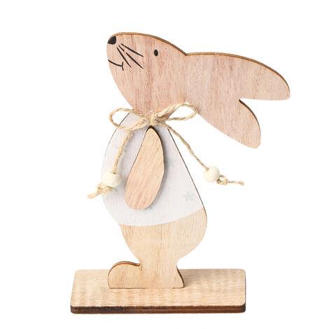1PC adornos de madera Tabla Conejos de conejito de soporte Etiquetas con huevo de Pascua cinta de bricolaje Artesania de madera en decoraciones caseras, estilo 2