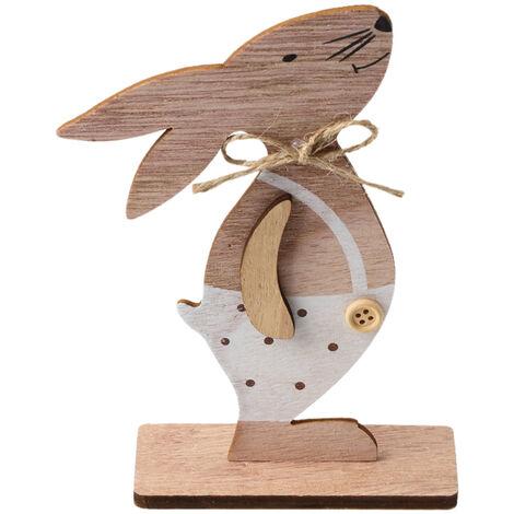 1PC adornos de madera Tabla Conejos de conejito de soporte Etiquetas con huevo de Pascua cinta de bricolaje Artesania de madera en decoraciones caseras, estilo 3