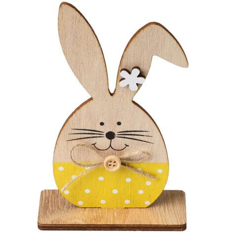 1PC adornos de madera Tabla Conejos de conejito de soporte Etiquetas con huevo de Pascua cinta de bricolaje Artesania de madera en decoraciones caseras, estilo 6